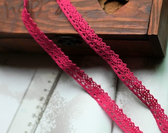 One Yard Lace Trims 14mm Wide,Embroidery Crochet ,Deep Pink Color, Scalloped,Cotton(YL15)