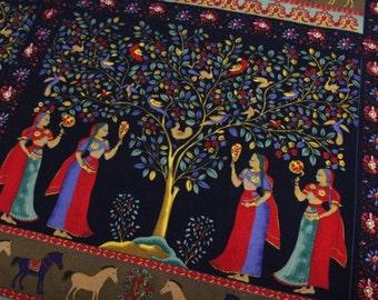 Cotton Linen Fabric for craft,Ethnic Style,Fairy,Mirror,Horse,Rainbow Tree,Bohemia,Bird,Pattern,fabric  (QT32)