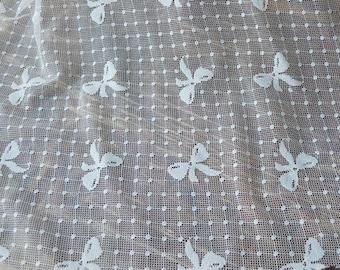 1 Yard White Dots Bow Lace Fabric,Lace,Bridal,stretch Fabric(W20)