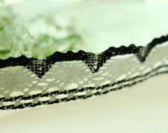 2 Yards Lace Trims 4.0cm Wide,Fabric Mesh Scalloped Shape,Black And White, Cotton--Classic Style(YL38)
