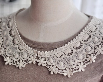 Beige Collar Lace,Embroidery, Appliques,Fabric,Diy,Sewing 1Pcs (CA02 -C310)