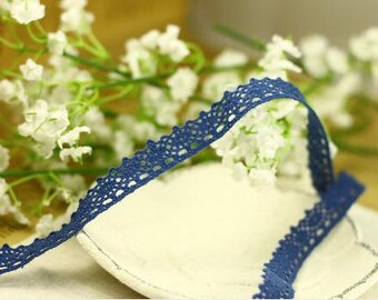 1 Yard Lace Trims 14mm Wide,Embroidery Crochet ,Blue Color, Scalloped,Cotton (YL41)