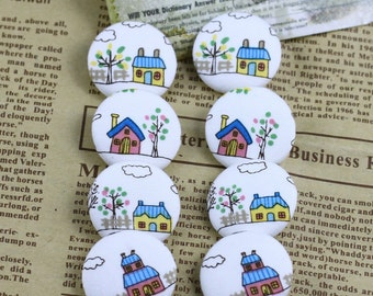 Linen Fabric Covered Bottons Set,Beautiful House,Painting,Drawing,Lovely,25mm Diameter,Round-(8 in a set)(GB11)