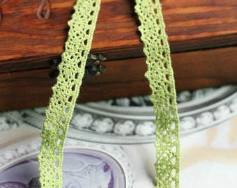 One Yard Lace Trims 12mm Width,Embroidery Crochet ,Green Fruit Color, Scalloped,Cotton--Other colors (YL77)