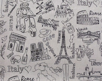 Cotton Linen Fabric for craft,Eiffel Tower,Travel to Europe,Italy,France,Windmill,Colosseum,Rome,Pattern,Splice,diy(QT58)