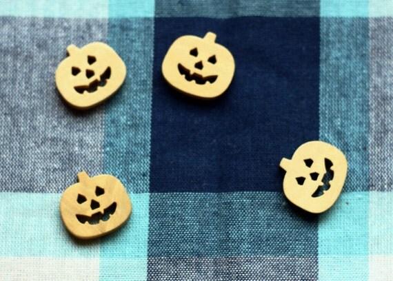 Wooden Bottons Set,Pumpkin Shape,Halloween,16mm Width -(4 in a set) (FN29)