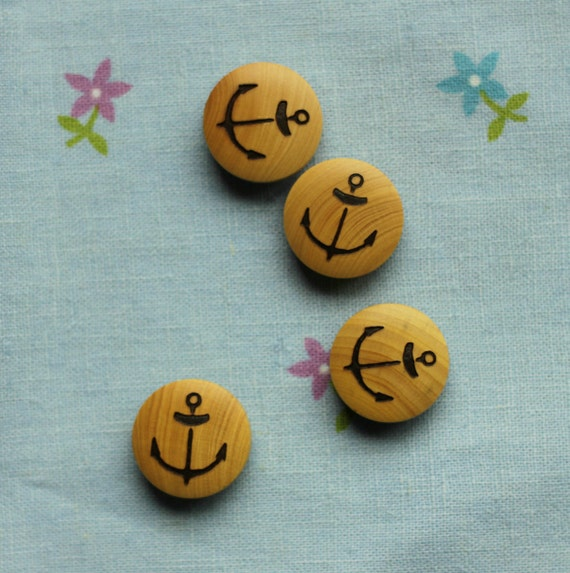 Wooden Bottons Set,Sea Anchor Pattern,20mm Diameter,Round -(4 in a set)(GN32)