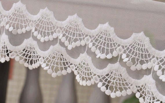 2 Yards Two Layers of Wave Shape Lace, Creamy White Color Embroidered Dress Lace,Fabric,Embroidery,Wedding,Mesh,Cotton(DL9)