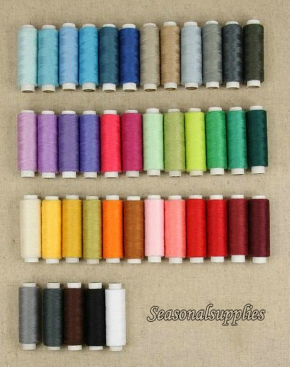 On Sale--41 Pcs Polyester Sewing Thread,Colorful Cord for 1 Set,41 colors,200 yard spool (T7)