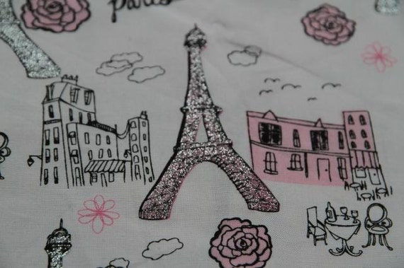 Half Yard Cotton Fabric,Craft,Eiffel Tower,Paris,Rose,Gilt,Vintage Building,Dining Table,Vintage Style,Pattern,Diy,Fabric(QT43)