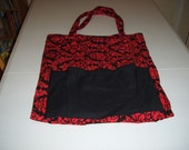 Red and Black Damesk Tote Bag 16/12 widex19 deep