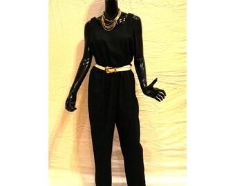 Vintage Black Jumpsuit Sz 10