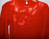 Crew Neck Wool Sequins, Garland, Pleather and Trim Bright Red Christmas Sweater from the 1980s