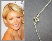 Sterling silver Sideways Cross Necklace, kelly ripa chain, silver cross pendant on sterling necklace, celebrity Style gift idea
