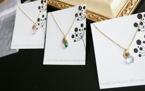 Personalized Bridesmaid gift. Bridesmaid necklace gift idea, thank you wedding jewelry, sterling silver or gold 3 necklaces