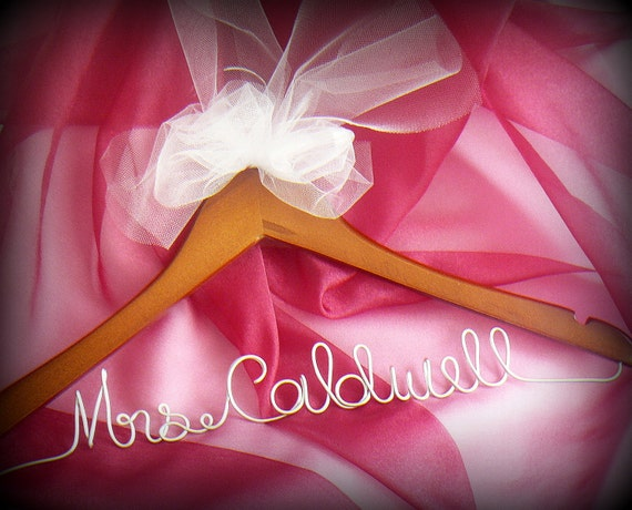 Wedding Engagement Gift New Bride, Dress Hanger Scripted With White Tulle Bow