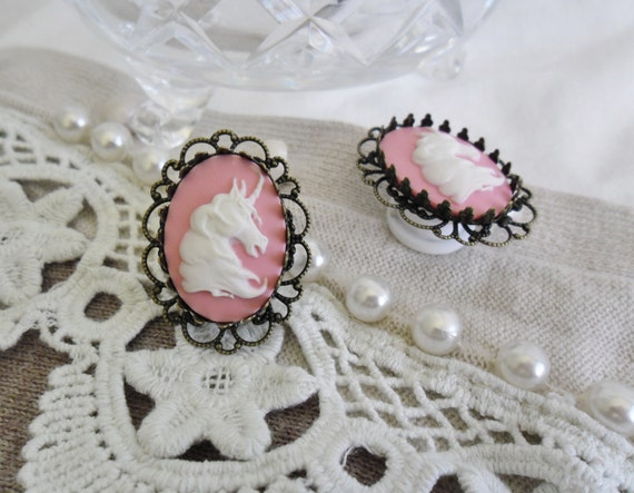 12mm pink unicorn cameo plugs