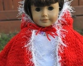 "Hand Knit Red Cape for American Girl or any 18"" doll"
