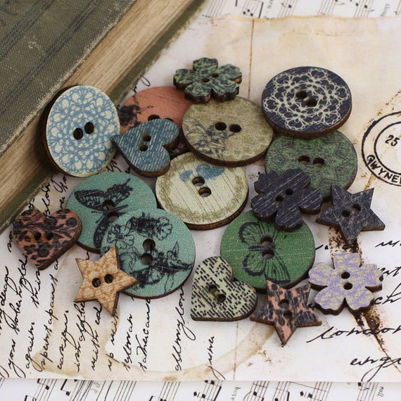 Nature Garden Wood Buttons scrapbook embellishment set by Prima Marketing