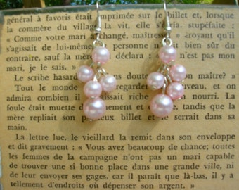 cotton candy pink pearl cluster handmade earrings