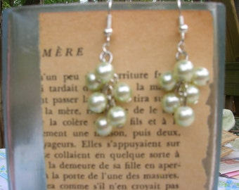 pale pistachio glass pearl cluster handmade earrings