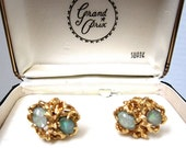 Vintage Gold with Opal Stones Cuff Links