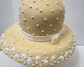 Tom Hann Yellow Beaded Straw Hat c 1970's