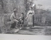 Borghese Garden Vintage Black and White Print in A Black 8x10 Frame by G.G. Kilburne c1878