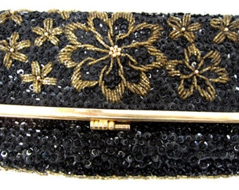 Hand Beaded  Black and Gold Trimmed Clutch c.1960