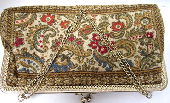 Paisley Tapestry Handbag With Gold Toned Chain Handle Vintage c.1960