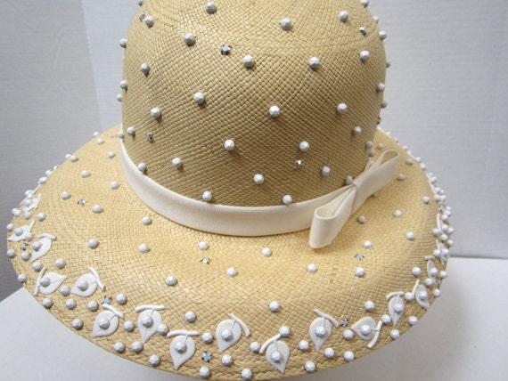 Tom Hann Yellow Beaded Straw Hat c 1970's