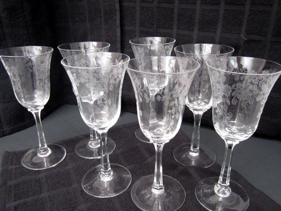 Lenox Crystal Garden Etched Wine Glasses C1970 By