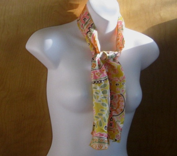 Reserved for Amanda (through 2/9) - Age of Aquarius Scarf - Yellow and Pink '60s Scarf