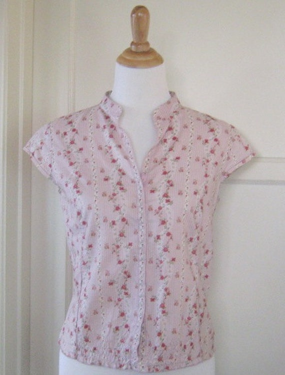 Pretty Pink Blouse with Vintage Rose Pattern - Medium Pink Shirt
