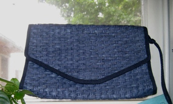 Vintage Italian Clutch - Classic Navy Blue Woven Envelope Clutch Purse from Italy