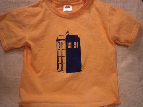 Every new Time Lord needs a TARDIS- Kid size 6 Orange T-shirt