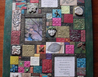 Polymer clay mosaic Nature Spirit