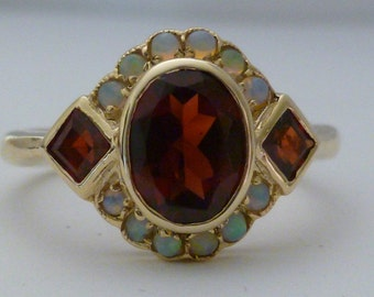 Gold Garnet Ring, Gold Opal Ring, Vintage Opal Victorian, 9ct 9k Solid Gold, Antique Womens Ring, Avail in Various Gems, 14k 18k Custom R4
