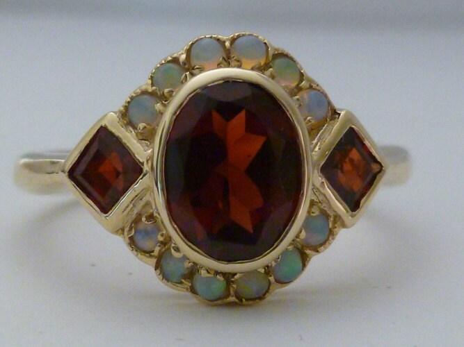 Gold Garnet Ring Gold Opal Ring Vintage Opal Victorian 9ct
