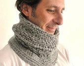 Gray crochet cowl, snood cowl , crochet scarf , men accessories, women accessories