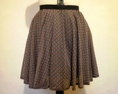 Black and blue aztec print mini circle skirt medium
