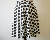 Black and white polka dot a line skirt