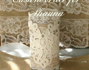 Burlap and lace vintage vase for candles or flowers
