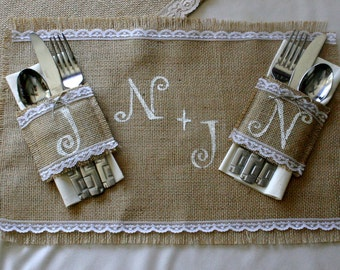 Bride and Groom table setting Burlap weddng table decorations, country rustic, Garden, woodland cottage,French country weddings