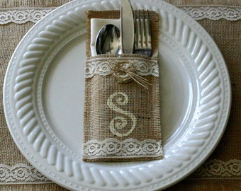 burlap silverware holders, monogramed silverware holders