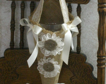 Burlap Wedding cone flower holders for flower girls, for aisle chair, Pews