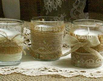 Vintage IVORY lace wedding tea candles, Burlap wedding decor