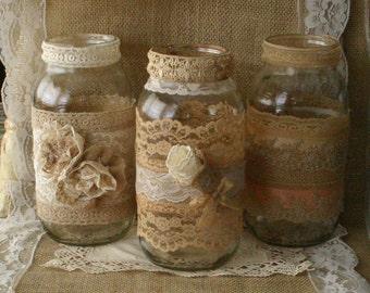 Burlap amd vinatge lace wedding jars