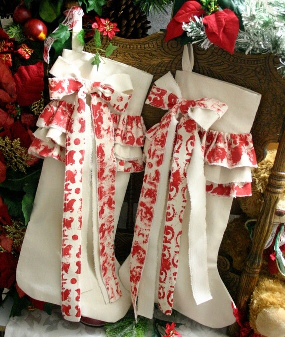 Items similar to girls christmas stockings country chic for Country chic christmas