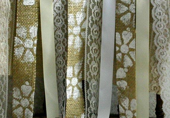 Burlap photo booth garlands,  5' x 6' TALL